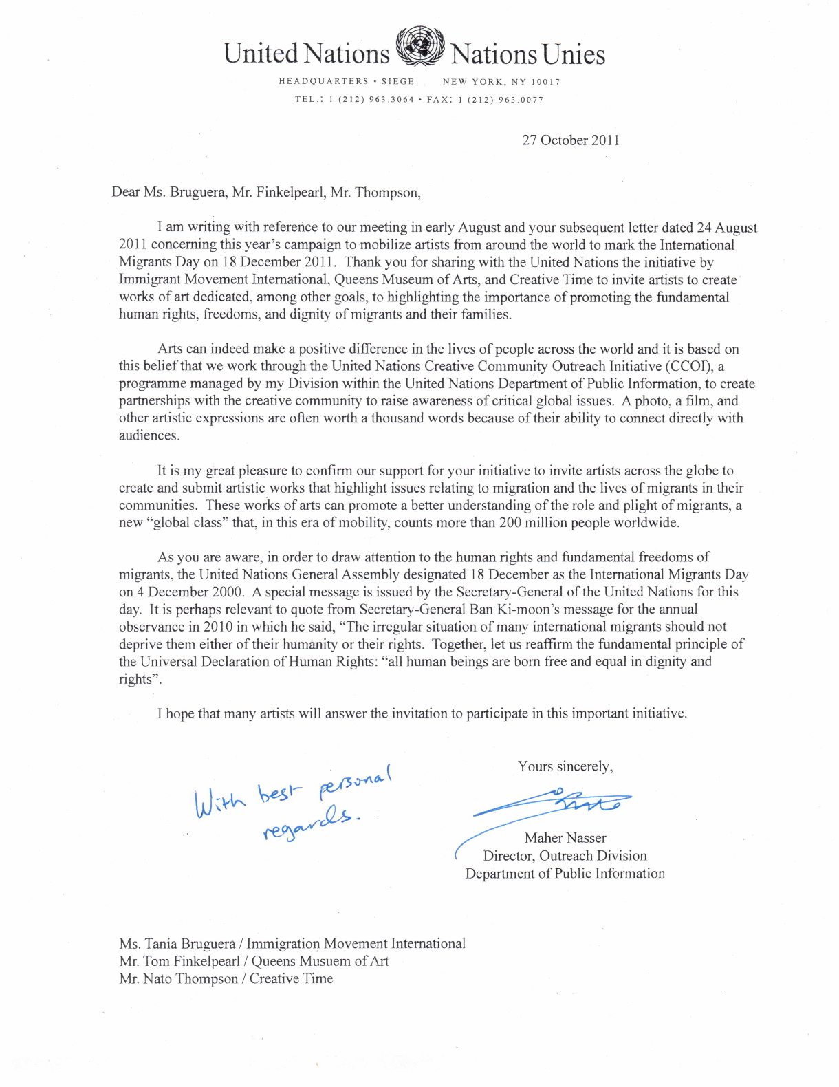 united nations official letter of support for dec  18